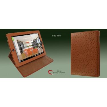 Ledertasche Cinema für iPad Mini Straußenlederprägung