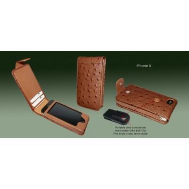 Piel Frama Ledertasche Snap für Apple iPhone 5/5S Straußenlederprägung